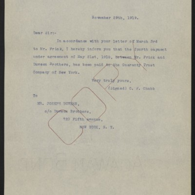 Letter from C.F. Chubb to Joseph Duveen, 29 November 1919