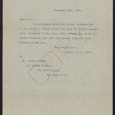 Letter from C.F. Chubb to Joseph Duveen, 29 November 1919