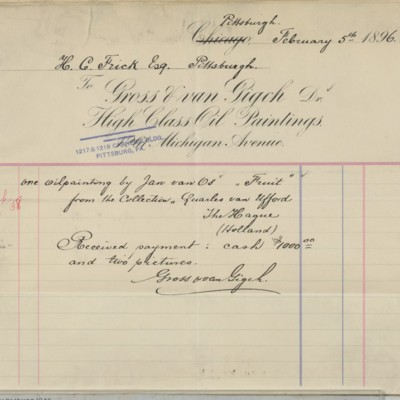 Gross & van Gigch Invoice, 5 February 1896