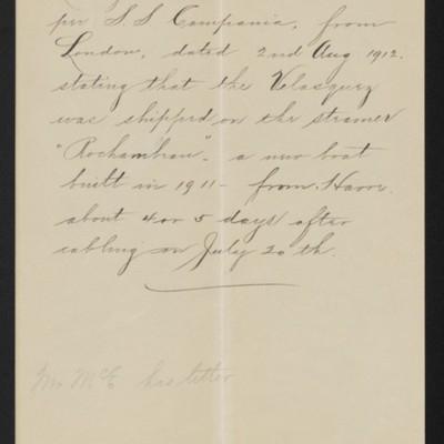 Note re letter from C.S. Carstairs concerning Velasquez painting, 14 August 1912 [front]