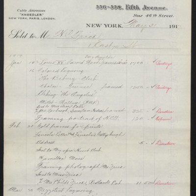 Invoice from M. Knoedler & Co. to Henry Clay Frick, 31 May 1917 [page 1 of 2]