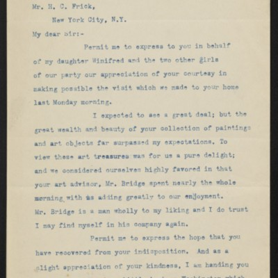Letter from Theodore Diller to H.C. Frick, 17 November 1919