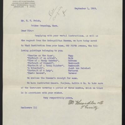 Letter from M. Knoedler & Co. to H.C. Frick, 1 September 1909 [front]