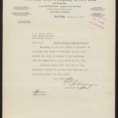 Letter from G.T. Scherzinger to Henry Clay Frick, 1 October 1919