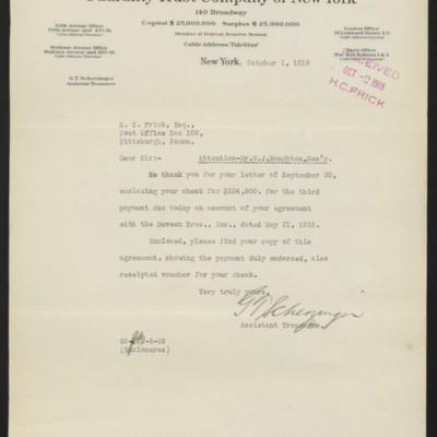Letter from G.T. Scherzinger to Henry Clay Frick, 1 October 1919