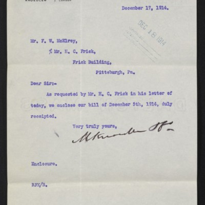 Letter from M. Knoedler & Co. to F.W. McElroy, 17 December 1914 [front]