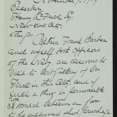 Letter from John Clark Wilson to Henry C. Frick, 7 November 1919 [page 1 of 2]
