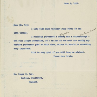 Letter from [Henry Clay Frick] to Roger E. Fry, 1 June 1911