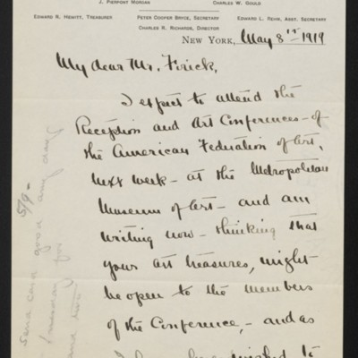 Letter from Mary Gibson to [H.C.] Frick, 8 May 1919 [page 1 of 2]