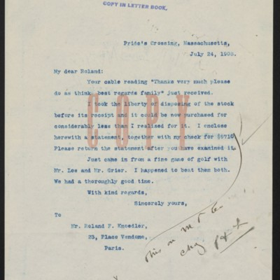 Letter from Henry Clay Frick to Roland F. Knoedler, 24 July 1908