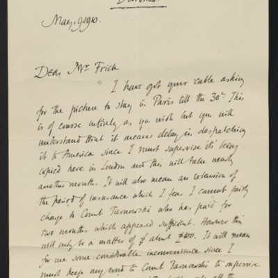 Letter from Roger E. Fry to [Henry Clay] Frick, 9 May 1910