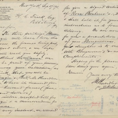 Letter from M. Knoedler & Co. to Henry Clay Frick, 19 September 1895
