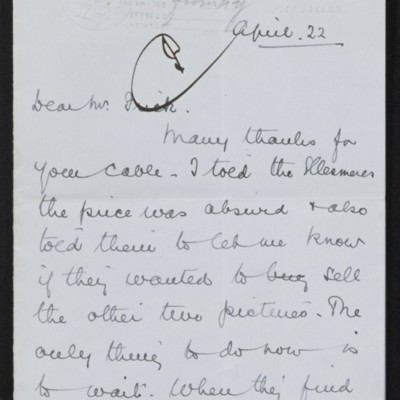 Letter from Alfred Anson to [Henry Clay] Frick, 22 April 1916
