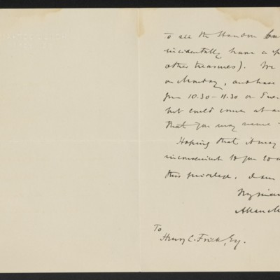 Letter from Allan Marquand to Henry C. Frick, 22 October 1916 [page 2 of 2]
