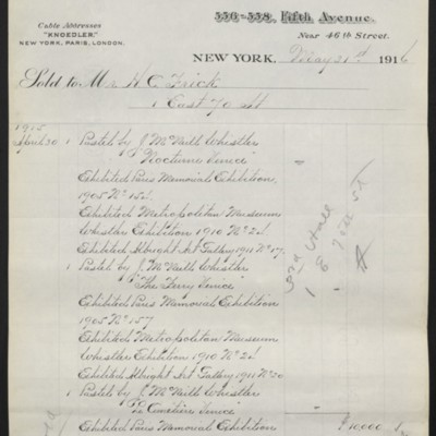 Invoice from M. Knoedler & Co. to Henry Clay Frick, 31 May 1916