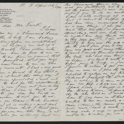 Letter from Charles L. Knoedler to Henry Clay Frick, 26 April 1900