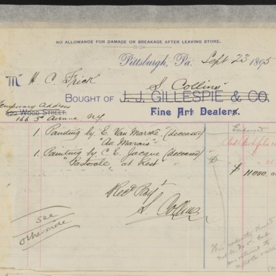 S. Collins Invoice, 23 September 1895