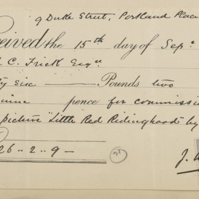 Receipt from J.W. Beck, 15 September 1896