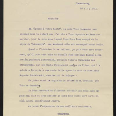 Letter from Count Tarnowsky to [Roger E. Fry?], 22 January 1911