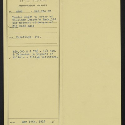Voucher for payment to the Estate of Sir Hugh Lane for Holbein and Titian paintings, 1915 May 17