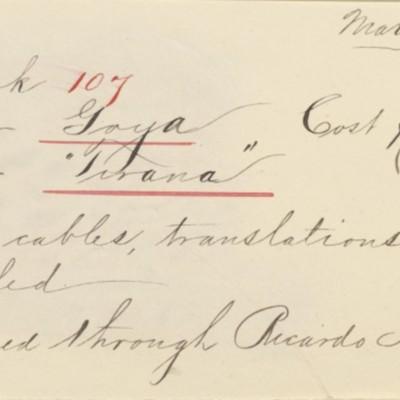 Memorandum prepared by Henry Clay Frick's secretary, 3 March 1911