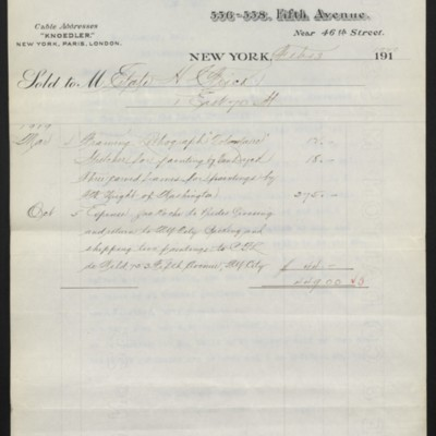 Invoice from M. Knoedler & Co. to the Estate of H.C. Frick, 13 February 1920