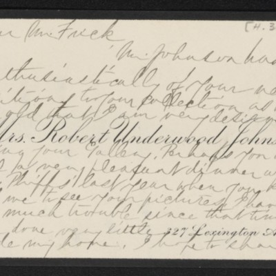 Note from Katharine Johnson to [H.C.] Frick, 16 March [no year] [front]