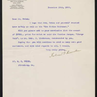 Letter from Roland F. Knoedler to Henry Clay Frick, 15 December 1900