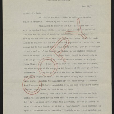 Copy of a letter from Allan Marquand to Charles Henry Hart, 18 February 1917 [page 1 of 3]