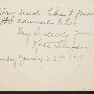 Letter from Kate Simpson to [H.C.] Frick, 26 January 1919 [page 3 of 3]]