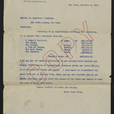 Letter from [Henry Clay Frick] to M. Knoedler & Co., 4 December 1914 [front]