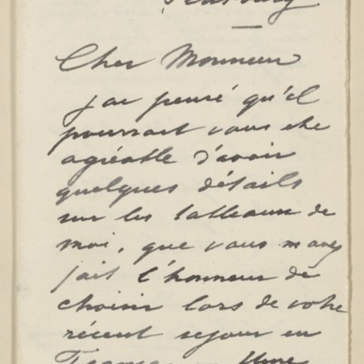 Letter from Jean-Charles Cazin to Henry Clay Frick, 9 October 1895
