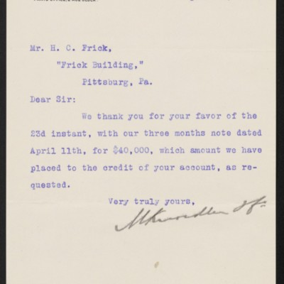 Letter from M. Knoedler & Co. to Henry Clay Frick, 24 April 1903