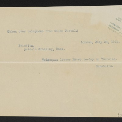 Cable from [C.S.] Carstairs to [Henry Clay] Frick, 20 July 1912
