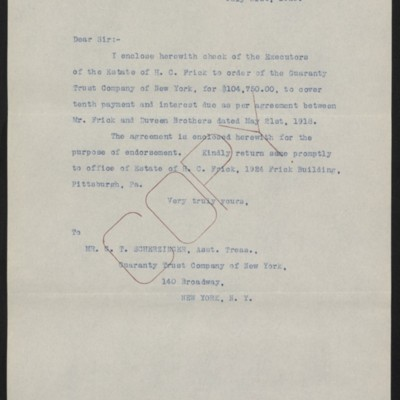 Letter from [Office of the Estate of Henry Clay Frick] to G.T. Scherzinger, 31 July 1920