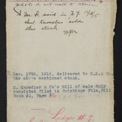 Envelope for paintings purchased from M. Knoedler & Co., 1914