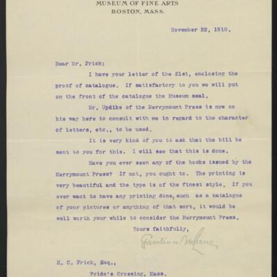 Letter from Gardiner M. Lane to H.C. Frick, 22 November 1910
