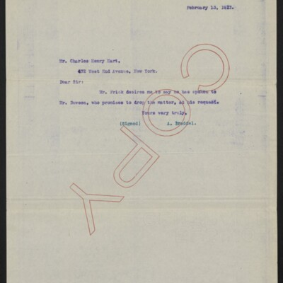 Copy of a letter from A. Braddel to Charles Henry Hart, 13 February 1917