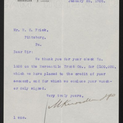 Letter from M. Knoedler & Co. to Henry Clay Frick, 26 January 1906