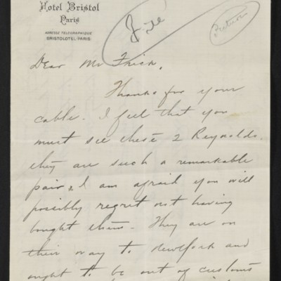 Letter from Charles S. Carstairs to [Henry Clay] Frick, 2 October 1906 [page 1 of 3]