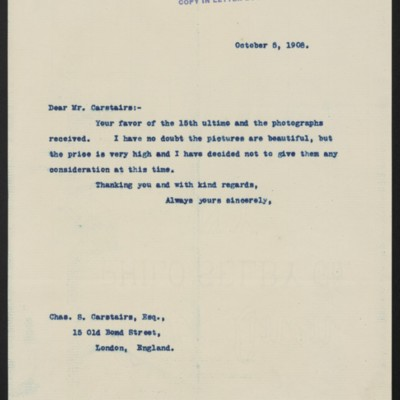 Letter from Henry Clay Frick to Charles S. Carstairs, 5 October 1908