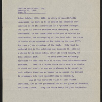Copy of a letter from [Duveen Brothers] to Charles Henry Hart, 13 January 1917 [page 3 of 5]