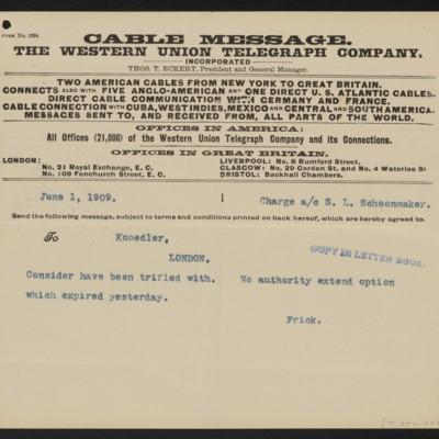 Cable from Henry Clay Frick to [M. Knoedler & Co.], 1 June 1909