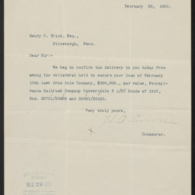 Letter from Mercantile Trust Co. to Henry Clay Frick, 18 February 1908