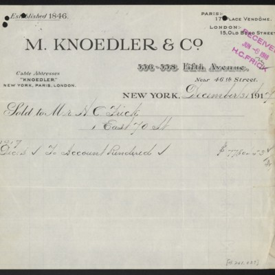 Invoice from M. Knoedler & Co. to H.C. Frick, 31 December 1917