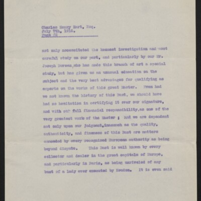 Copy of a letter from [Duveen Brothers] to Charles Henry Hart, 7 July 1916 [page 2 of 5]