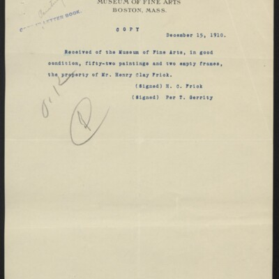 Copy of a receipt for paintings and frames, 15 December 1910