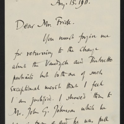 Letter from Roger E. Fry to Henry Clay Frick, 15 August 1911
