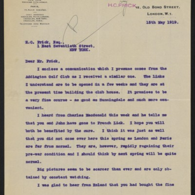Letter from Charles S. Carstairs to Henry Clay Frick, 15 May 1919