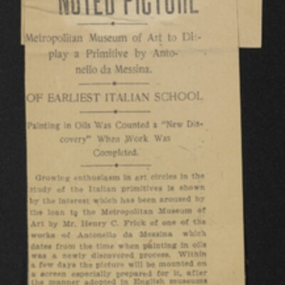 """Clipping, """"Mr. Frick Loans Noted Picture,"""" New York Herald, 4 December 1907"""
